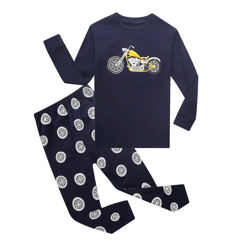Moresave Enfants Garçons Filles Pyjamas, Pyjamas pour enfants Vêtements Set Coton à manches longues Casaul Homewear Taille 1-8ans