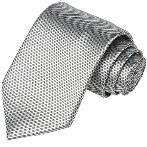 Mens Necktie KissTies Silver Gray Solid Striped Pure Color Tie Wedding Ties