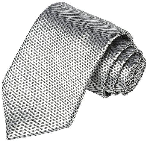 Mens Necktie KissTies Silver Gray Solid Striped Pure Color Tie Wedding - Tie Silver Grey