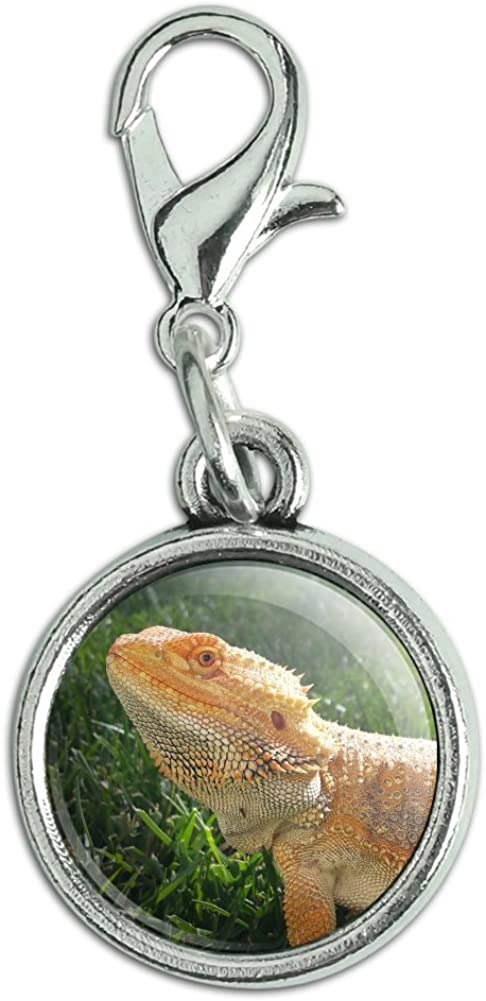 Bearded Dragon Image Design Silver Plated Clip on Charm