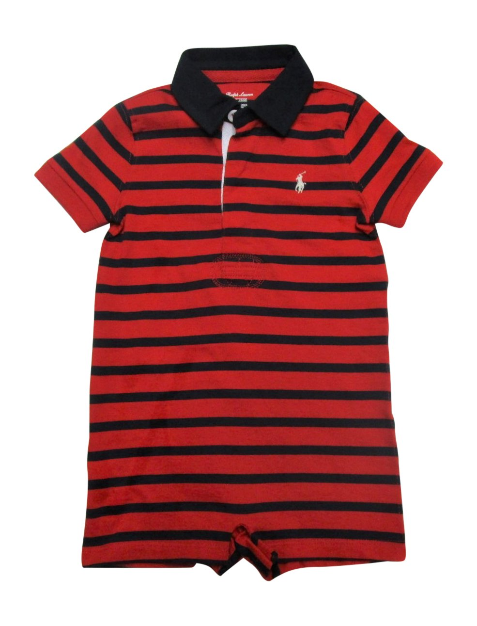 90267c6bb548 Galleon - RALPH LAUREN Baby Boys Striped Cotton Rugby Shortall (Red Hunter  Navy