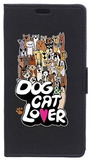 Funda Libro para Xiaomi Mi6- Carcasa con función Soporte, Ranuras para tarjetes y Billetes, Diseño Amante de Perros y Gatos