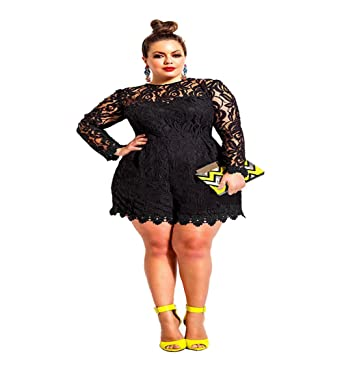 ae6fe2fad20b QIYUSHOW Women s Plus Size Long Sleeve Lace Romper Sexy Jumpsuit Shorts  (Large