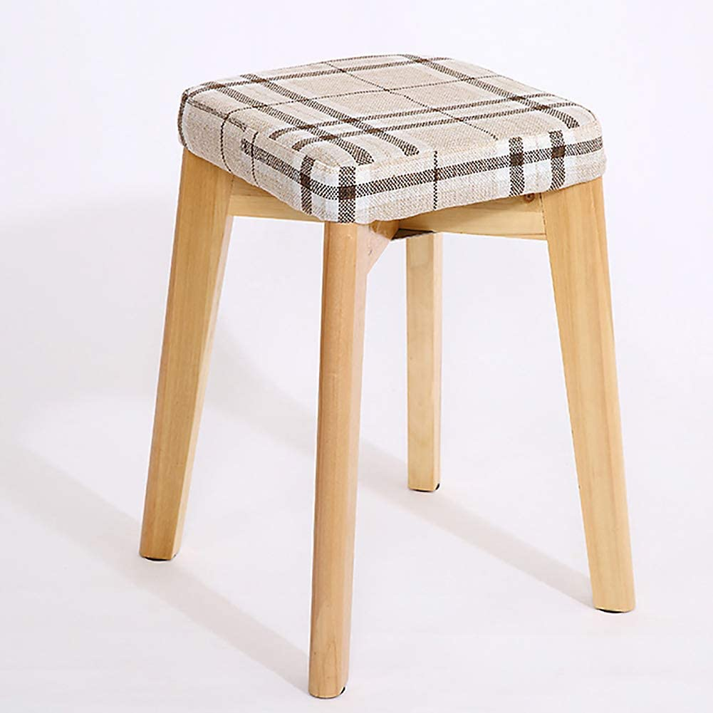 ZF furniture Wooden Padded Kitchen Bar Stool,4 Legs Heigh Stools Removable Seat Cover Backless Stackable Stools for Painting Vanity Dinning-a 28x28x45cm(11x11x18inch)