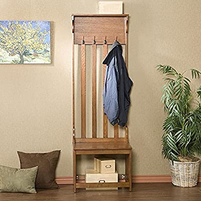 Metro Shop Upton Home Mission Oak Hall Tree Entry Bench - 100% Brand New Good Quality Make your home more livable with its good design. - hall-trees, entryway-furniture-decor, entryway-laundry-room - 61AVFbxrHHL. SS400  -