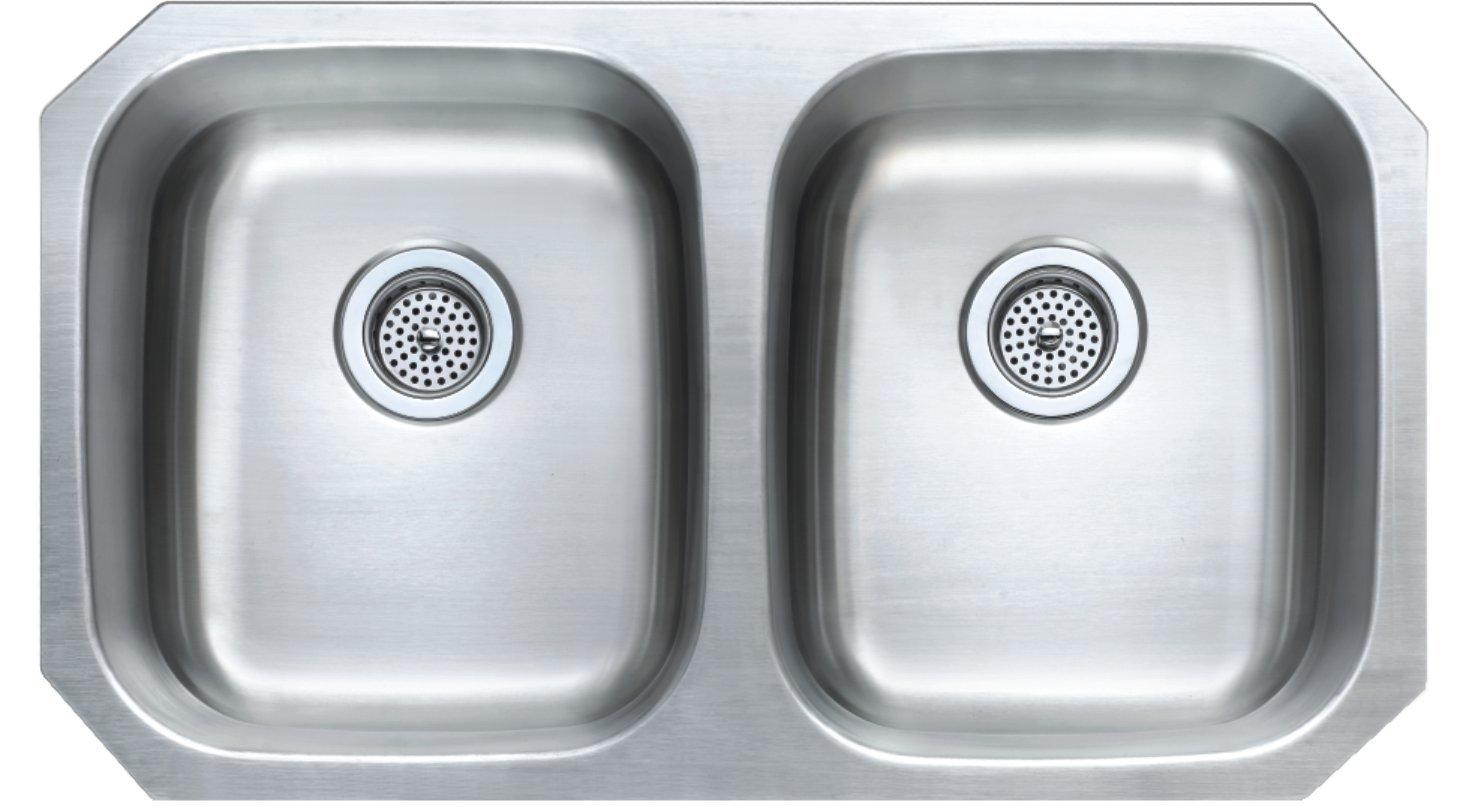 Winpro 32 1/4'' x 18 1/2'' x 9'' Undermount Extra Deep Double Bowl 18 Gauge 304 Stainless Steel Kitchen Sink