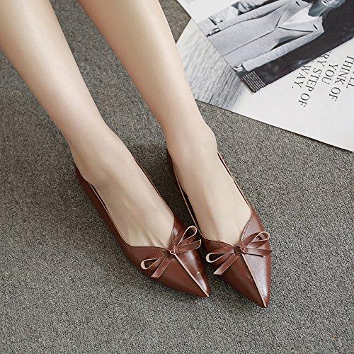 Xue Qiqi Señaló Zapatos Planos Superficiales Pajarita Boca Plana con Solo Zapatos Confort Femenino un Paso Inferior y Zapatos de Mujer Marrón oscuro