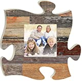 Neutral Multicolor Distressed Wood Look 12 x 12 Wall Hanging Wood Puzzle Piece Photo Frame