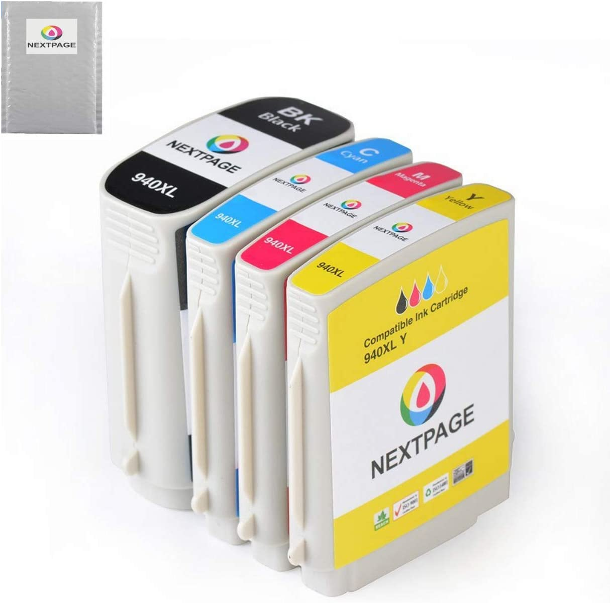 NEXTPAGE Compatible Ink Cartridge Replacement for HP 940 940XL 1 Set (1 Black, 1 Yellow, 1 Magenta, 1 Cyan), 4 Pack