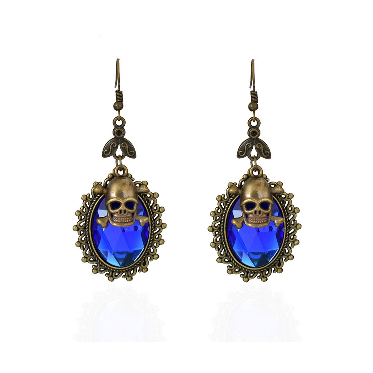 Royal Blue Crystal Drop Earrings with Antiqued Gold Bezel and Skull Charm