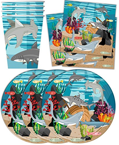 Shark Birthday Party Supplies Set Plates Napkins Cups Tableware Kit for 16 by Birthday (Shark Plates)