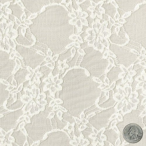 58'' Ivory Daffodil Flower Design Stretch Lace Fabric by the Bolt - 25 Yards by Stylishfabric