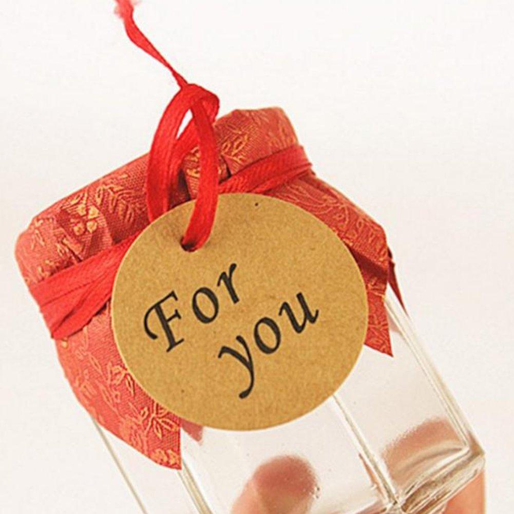 For you Dosige 100 x Etiquetas de regalo Colgante de etiquetas de papel Kraft Etiquetas colgantes Etiquetas de etiquetas de papel Boda de Navidad