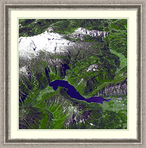 Framed Wall Art Print Salzkammergut, Austria. Large Parts of The Region were Listed as a World Heritage Site in 1997. June 22, 2003. Satellite Image. 26.75 x 27.00