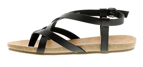 Blowfish Damen Träger Sandale mit geformtes Fußbett von Riemchen Lederoptik  Oberen und Verstellbar Schnalle Verschluss mit teaxtured Fußbett für Extra C  ...