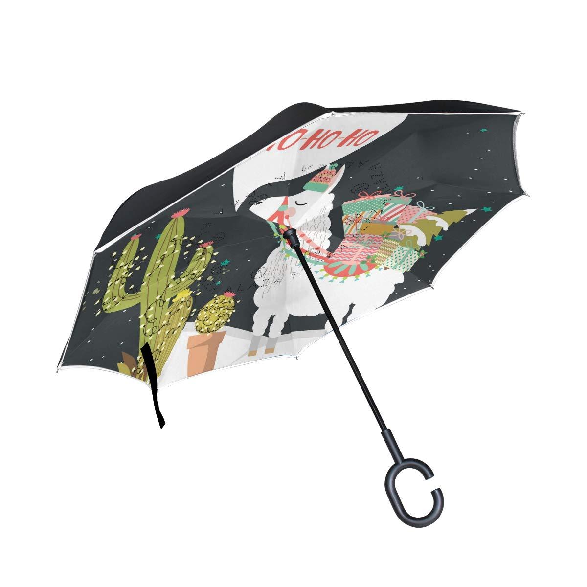 senya Saobao Double Layer Inverted Umbrella Fun Alpaca Reverse Folding Umbrella Windproof UV Rain for Outdoor with C-Shaped Handle