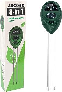 AOCOSO Soil Moisture Meter, 3-in-1 Soil Tester, Moisture pH Light Sensor for Planting Flowers, Fruits, Vegetables, Trees in Gardens, Lawns, Greenhouse Farms (No Battery Needed)