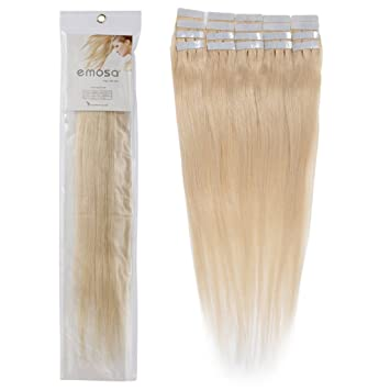 Amazon emosa 16 inch remy straight tape skin seamless silky emosa 16 inch remy straight tape skin seamless silky human hair extensions 613 blonde 50g pmusecretfo Image collections
