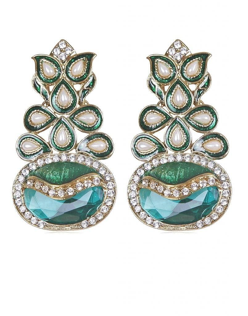 Golden White Rajwada Arts Girls Ultra Stylish Emerald Dangle Earrings Green Aqua