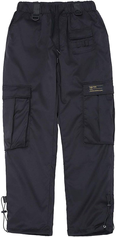 New Men Women Cargo Pants Hip Hop Elastic Waist Casual Jogger Sweatpants Pockets Decoration Trousers