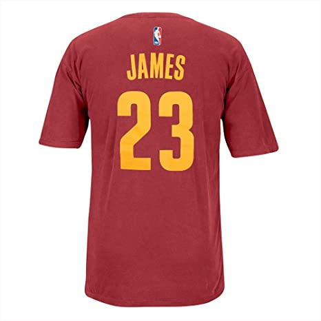 buy online b4bfc 6b8af adidas Lebron James Cleveland Cavaliers NBA Men Red Player Name & Number  Pigment Dye Jersey T-Shirt