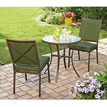 Amazoncom Piece Outdoor Bistro Set Green Seats This Bistro - Outdoor cafe style table and chairs