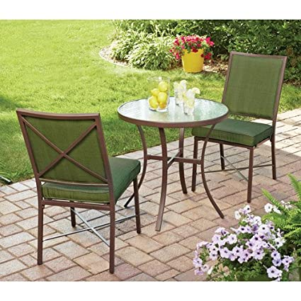 Amazon 3 piece outdoor bistro set green seats 2 this bistro 3 piece outdoor bistro set green seats 2 this bistro set is a watchthetrailerfo