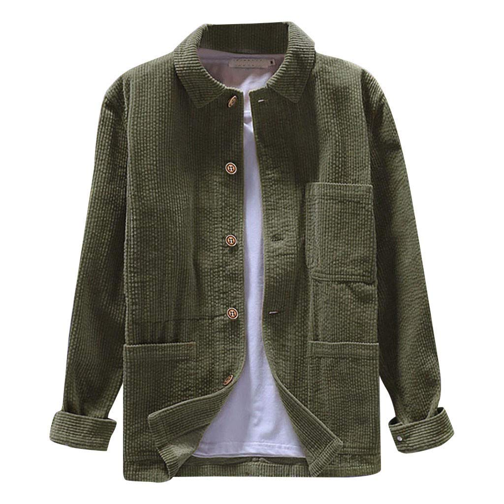 TianranRT Cappotto Da Uomo,Nuovo Inverno//Velluto A Coste//Tinta Unita Manica Lunga//Camicia Casual Verde Militare,L