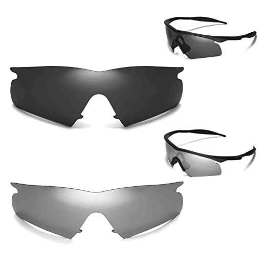 a8bd63b90d Image Unavailable. Image not available for. Color  New Walleva Polarized  Titanium + Black Lenses For Oakley M Frame Hybrid