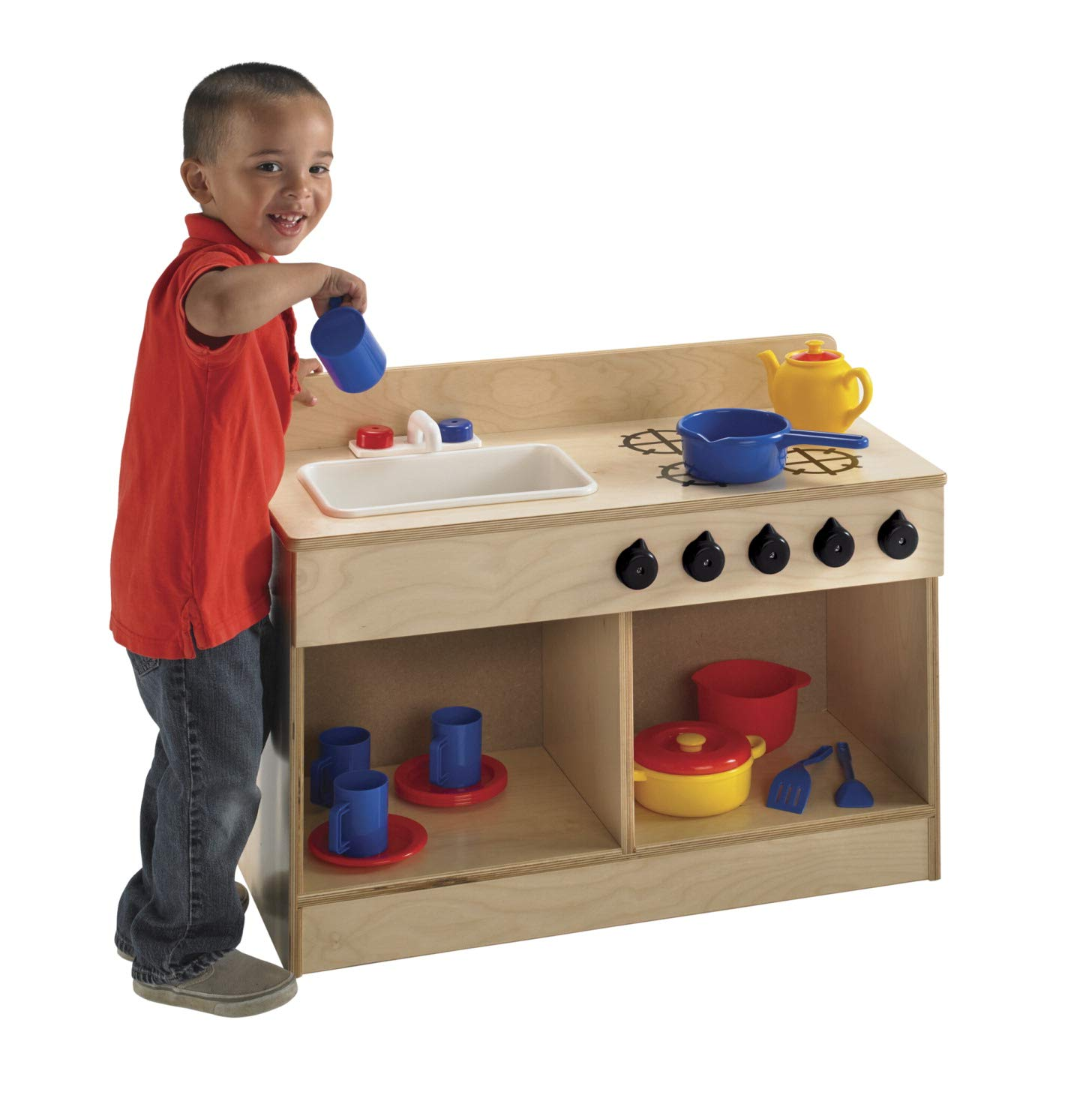 Childcraft 1491196 Toddler Sink and Stove Combo, 21.5'' Height, 13.38'' Width, 29.5'' Length, Natural Wood by Childcraft (Image #2)