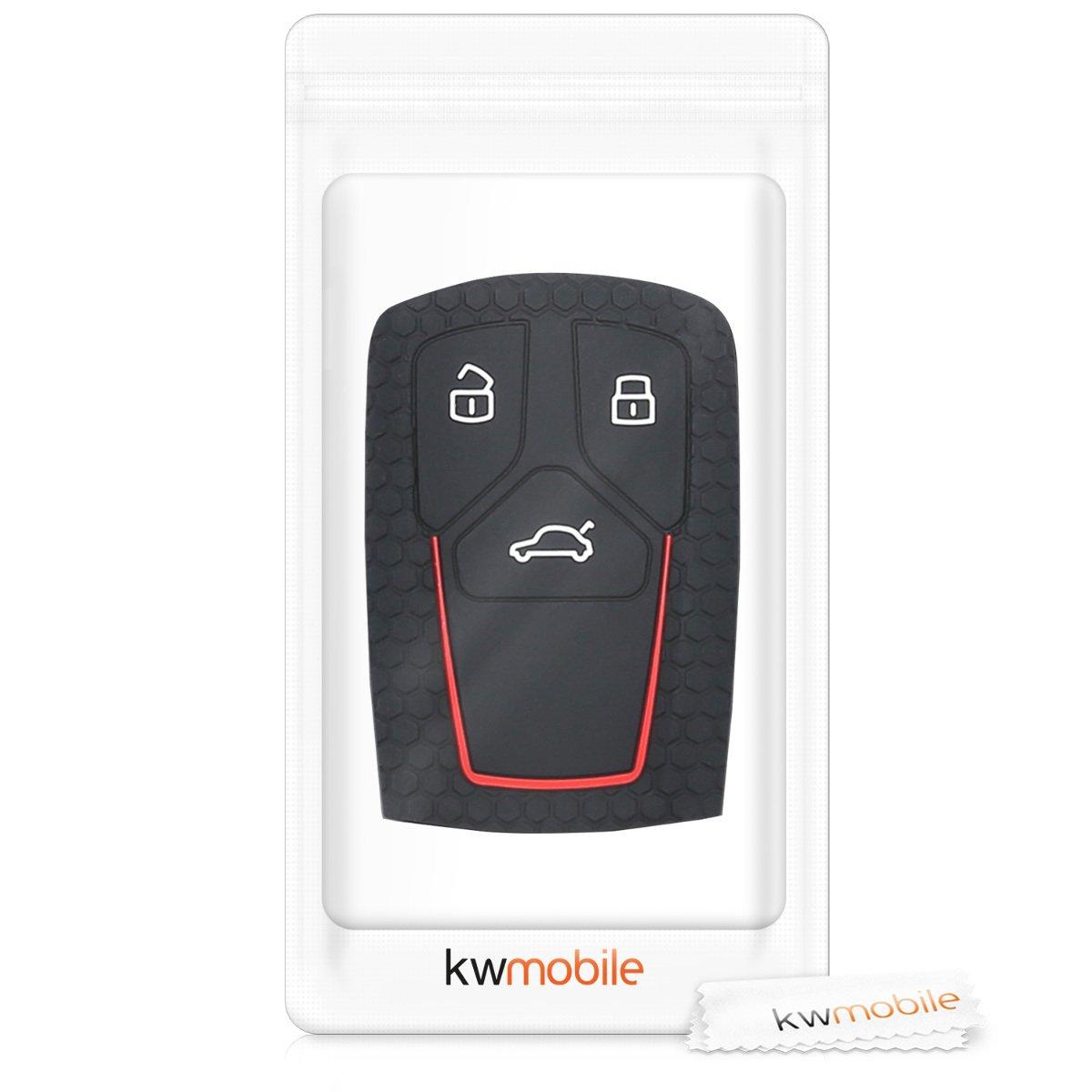 kwmobile Funda para Llave Smartkey de 3 Botones para Coche Audi Solamente Keyless Go de Silicona - Case de Mando de Auto con dise/ño Deportivo - Carcasa Protectora Suave