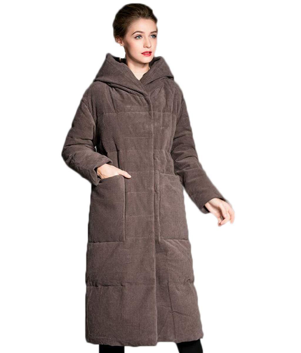 QKDSA Señoras Chaqueta de Pana Abajo de Invierno Abrigo con Capucha Outwear (Color : Color Cafe, Tamaño : XL): Amazon.es: Jardín