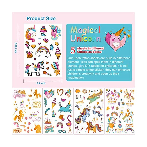 Unicorn Party Supplies,90pcs Glitter Unicorn Temporary Tattoos for Kids and Adult, Unicorn Party Favors Gifts School Games Toys Decorations Birthday Stuff for Girls Boys 5