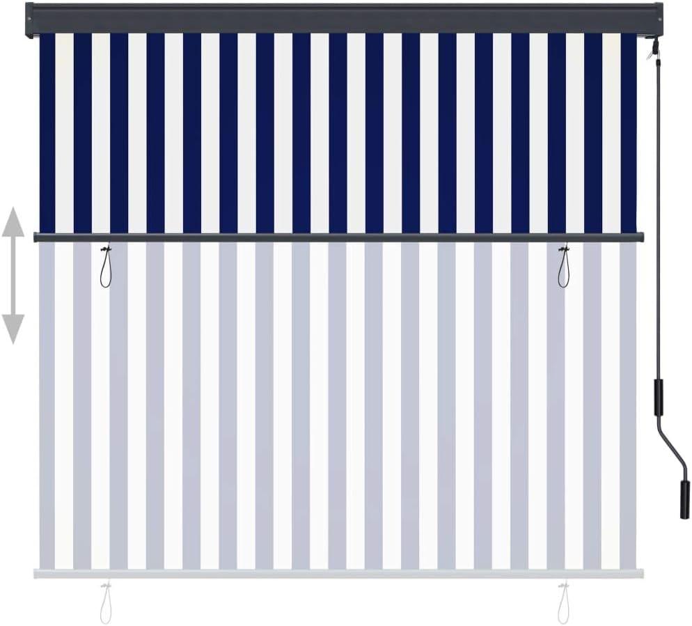 vidaXL Au/ßenrollo Handkurbelmechanismus Balkonrollo Senkrechtmarkise Sichtschutz Beschattung Sonnenschutz Au/ßen Rollo Balkon 170x250cm Blau Wei/ß