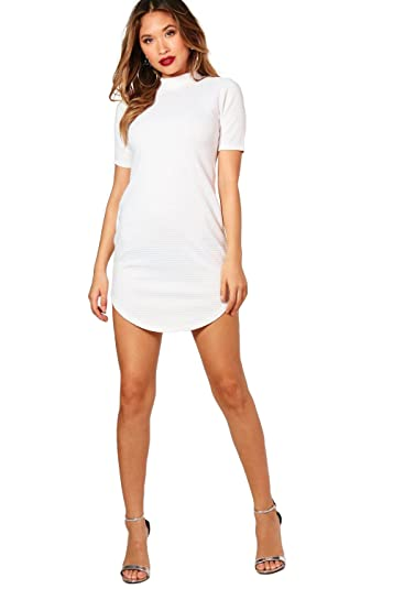 Boohoo Womens Curved Hem Dress XS Ivory