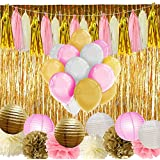 Paxcoo Pink and Gold Party Supplies with Balloons Tissue Flowers Paper Lanterns Tassel Garland Fringe Curtain for Baby Shower Girl Birthday Decorations