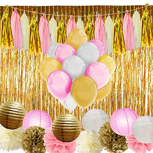 PAXCOO Pink and Gold Party Supplies with Balloons Tissue Flowers Paper Lanterns Tassel Garland Fringe Curtain for Baby Shower Girl Birthday Decorations -