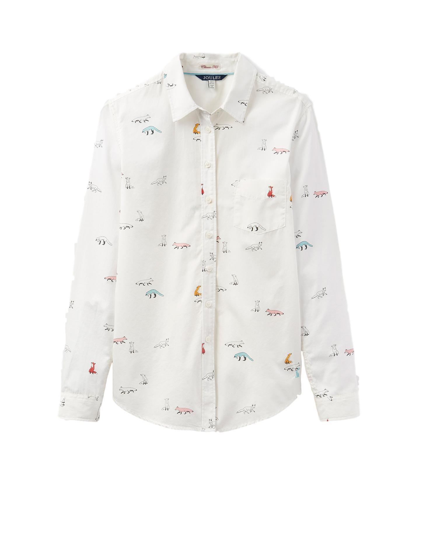 Joules Lucie Classic Fit Shirt, Cream Foxtrot, US 10