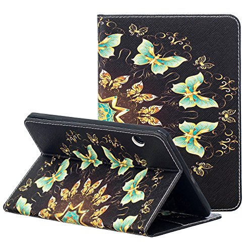 Kindle Voyage E-reader Case, ZAOX Colorful Painting Leather Stand Flip Folio Card Holder Shell Slim Wallet Case Auto Wake/Sleep Smart Protective Cover for Amazon Kindle Voyage 2014 (Green Butterfly) by ZAOX