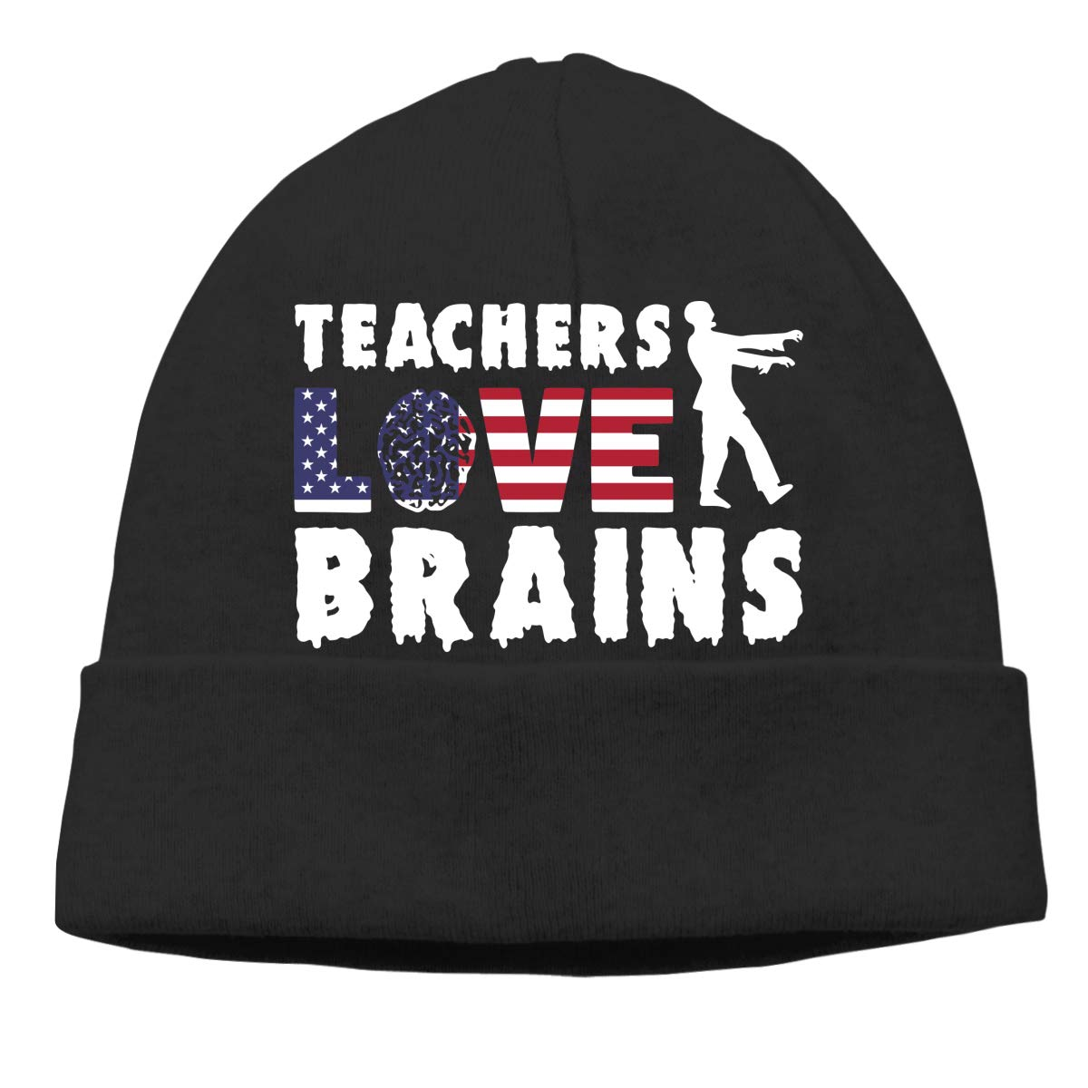 Teachers Love Brains American Flag Men//Women Great Thermal Cycling Skull Cap