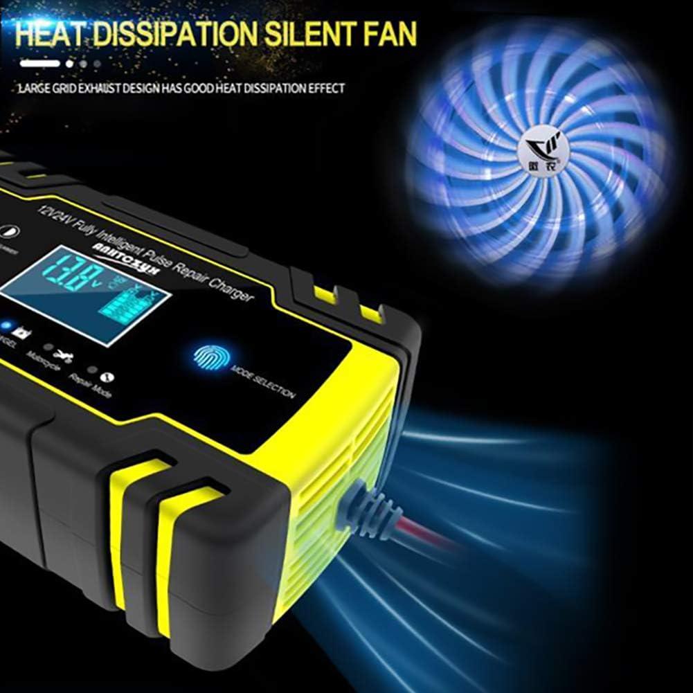 Tondeuse /à Gazon Plusieurs Protections pour Batterie de Voiture Moto Etc Haofy Chargeur de Batterie Intelligent 12V//24V 8A Booster Voiture Intelligent Portable AVCE /Écran LCD
