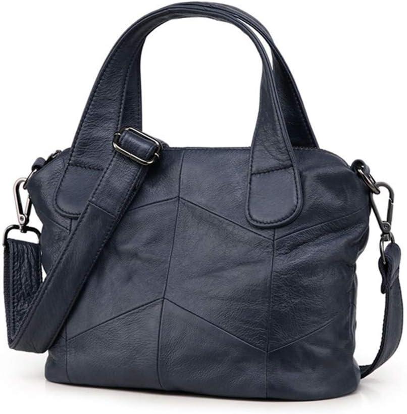 Jichuo Il Nuovo Modo Casuale Nero Grigio Bianco Blu Vera Pelle Donne Borse Femminili Totes della Signora Shoulder Messenger Bags Borse da Donna (Color : Black) Blue