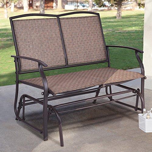 VirtualSurround Patio Glider Rocking Bench Double 2 Person Chair Loveseat Armchair Backyard New - Cast Aluminum Loveseat Glider