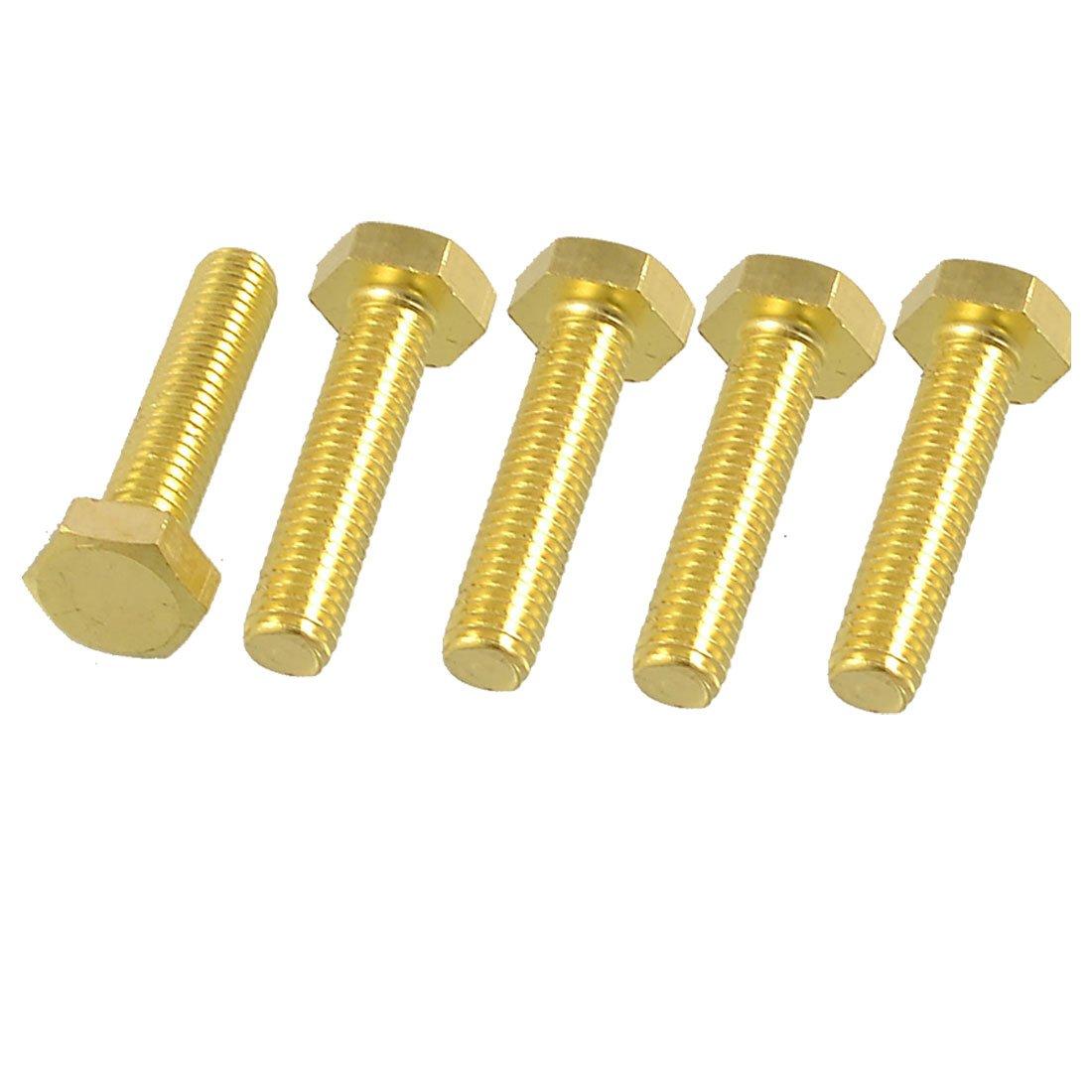 uxcell 5 x 8mm x 35mm Thread Hex Head Flat Tip Screws Solid Brass Fasteners
