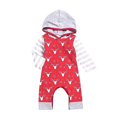 5a13cd3ebee8 Amazon.com  Asisol Baby Boys Girls Christmas Romper Newborn Deer ...