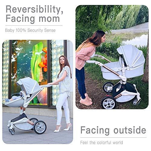 61AVLtbaCCL - Baby Stroller 360 Degree Rotation Function,Hot Mom Baby Carriage Pu Leather Pushchair Pram 2020,Grey