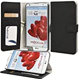 LG G Pro 2 Case, Abacus24-7 LG G Pro 2 Wallet Case with Stand, Pockets for ID & Credit cards - Flip Case for LG G Pro 2 F350 - Black