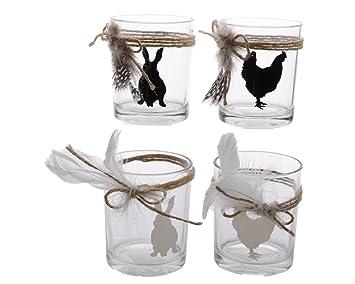 Windlicht Teelicht Hase Osterhase Huhn Glas Schwarz Oder Weiß Ostern Eier 2  Er Set