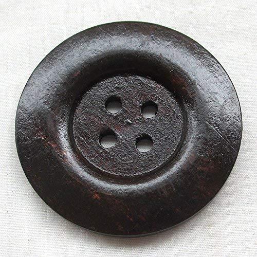 Chenkou Craft Lot de 20/Big Taille 50/mm 5,1/cm Marron Boutons en bois rond 4/trous coudre Bouton