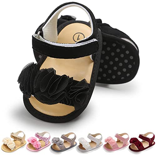 f9362563fe533 Infant Baby Girls Summer Sandals with Flower Soft Sole Newborn Toddler  First Walker Crib Dress Shoes